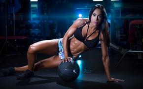 Picture brunette, pose, workout, fitness, bodybuilder