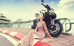 Picture girl, style, motorcycle