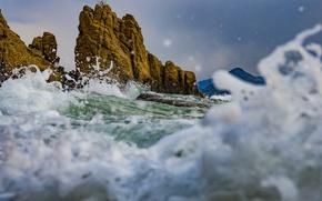 Picture sea, squirt, rocks