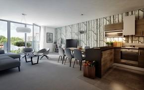 Picture furniture, interior, kitchen, living room