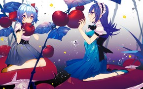 Wallpaper anime, girls, apples