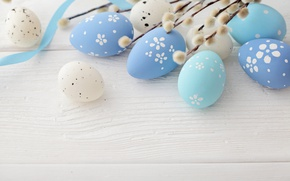 Picture Easter, Verba, blue, spring, eggs, Happy Easter, Easter eggs