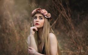 Picture girl, face, pose, mood, hands, makeup, wreath, long hair, bokeh, Victoria