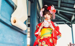 Picture face, style, background, Oriental girl