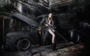 Wallpaper pose, cigarette, cloak, shorts, car wash, pickup, CARWASH RETRO, girl, machine, auto