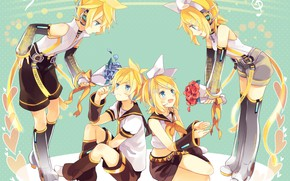 Picture anime, art, Vocaloid, Vocaloid, characters, Rin, Len