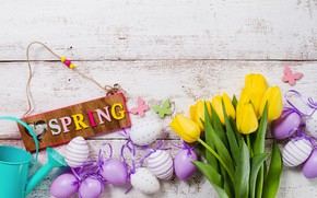 Picture flowers, spring, yellow, colorful, Easter, tulips, flowers, tulips, spring, Easter, eggs, decoration, Happy, the painted …