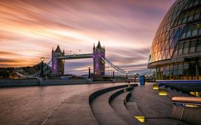 Picture dawn, England, London, lights, Tower bridge, promenade