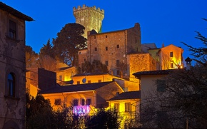 Picture night, lights, tower, home, Italy, Tuscany, Vicopisano
