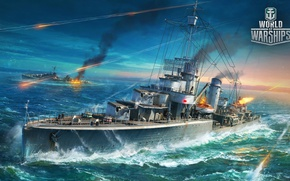 Picture the ocean, fire, war, the game, ship, ships, destroyer, World Of Warship