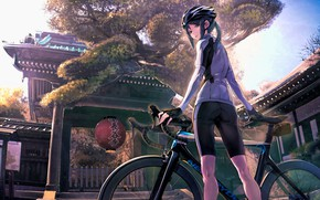 Picture girl, anime, bike