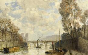Picture river, Paris, picture, the urban landscape, barge, Frank Boggs, Frank Myers Boggs, The Pont Saint-Michel