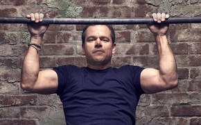 Wallpaper Matt Damon, photoshoot, Matt Damon, Jason Bourne, Nino Munoz, brick, t-shirt, actor, the crossbar, for ...
