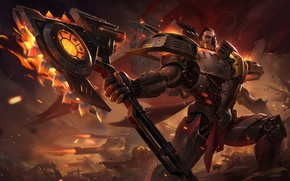 Picture axe, armor, Warrior, league of legends