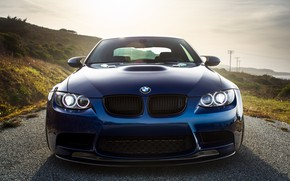 Picture BMW, Classic, Blue, Green, Front, Sun, E92
