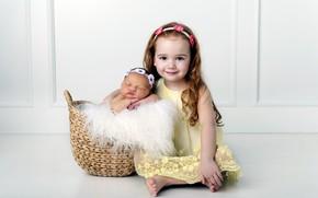 Picture Children, Basket, Girl, Madenet