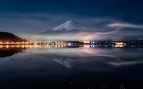 Picture water, night, reflection, Japan, Fuji, mount Fuji