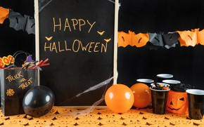 Picture holiday, spiders, ball, candles, pumpkin, glasses, garland, Halloween, marmalade