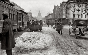 Picture retro, people, street, home, Washington, tram, USA, Capitol, 1918-th year