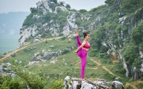 Wallpaper pose, nature, gymnastics, yoga, girl