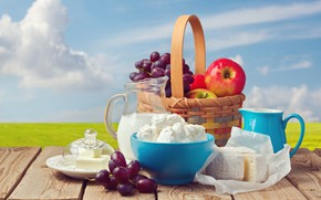 Wallpaper field, the sky, the sun, clouds, landscape, table, background, basket, apples, Board, oil, cheese, milk, ...