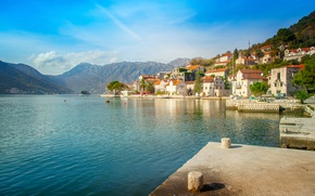 Picture the sky, the sun, clouds, mountains, shore, home, Bay, Bay, Montenegro, Kotor bay, Perast