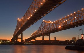 Picture night, lights, USA, bridges, New Orleans, Louisiana, Crescent City Connection