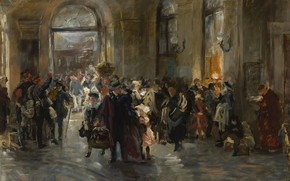 Wallpaper At The Station, picture, interior, Ferdinand Brutt, Ferdinand, Brett