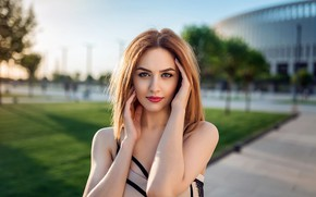 Picture girl, grass, brown hair, brown eyes, photo, photographer, park, model, lips, face, portrait, mouth, lawn, …