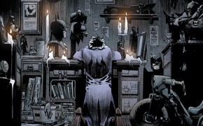 Wallpaper books, comics, bad, mask, desk, fantasy art, kneeling, superhero, candles, batmobile, DC Comics, artwork, hood, ...
