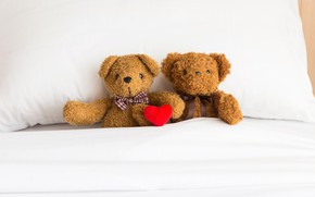 Picture love, toy, heart, bear, bear, pair, love, two, bear, heart, romantic, teddy, bed, little, cute
