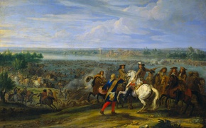 Picture oil, picture, canvas, The crossing of the Rhine Army of Louis XIV, Adam Frans van …