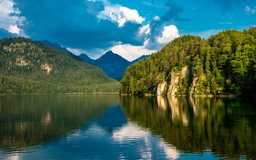 Picture forest, mountains, rock, lake, Germany, Bayern, Alps, Germany, Bavaria, Alps, Alpsee