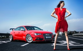 Picture look, Audi, Girls, glasses, Asian, beautiful girl, red car