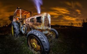 Wallpaper machine, night, tractor