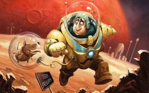 Picture fiction, planet, dog, astronaut, art, Illustrator, fragment, As Tomek, Expedition to Mars - cover art