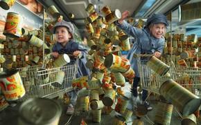 Picture children, girls, shop, purchase, Black friday