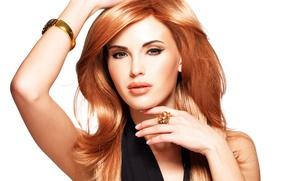 Picture look, girl, model, hands, makeup, ring, bracelet, red hair, posing