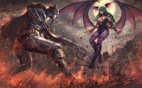 Picture battlefield, girl, game, Morrigan, Batman, man, cartoon, fight, bat, Capcom, hero, film, animated film, DC …