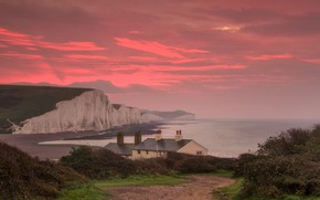 Picture sea, clouds, Strait, England, home, glow, The Channel, Sussex, Seven Sisters, chalk cliffs