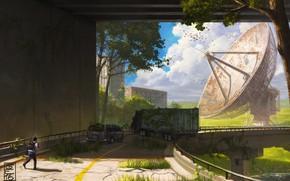 Picture bridge, antenna, cars, Overpass, start again step