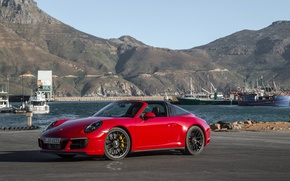 Picture mountains, shadow, ships, 911, Porsche, pier, red, convertible, car, mountains, GTS, Targa 4, Worldwide