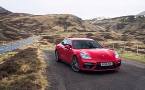 Picture road, auto, mountains, Porsche, Panamera, turbo, red, Porsche, red