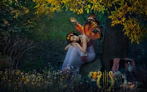 Wallpaper Asian, forest, elf, butterfly, girl, fantasy, nature, wings, harp