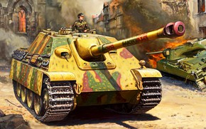 Wallpaper SAU, class tank destroyers, The second World war, Painting, WW2, Germany, Jagdpanther