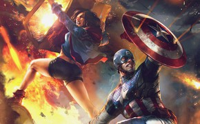 Picture fire, flame, art, sparks, costume, shield, Marvel, comic, Captain America, superheroes, War of Heroes, America …