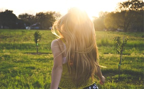 Picture summer, girl, the sun, long hair