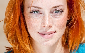 Picture blue eyes, beauty, look, Redhead, freckles
