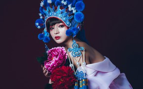 Picture look, flowers, style, model, makeup, Asian, the dark background, headdress