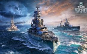 Picture the sky, rain, the ocean, lightning, the game, ships, Arizona, Battleship, World Of Warship